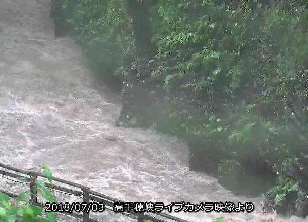 高千穂峡 台風による大雨で増水