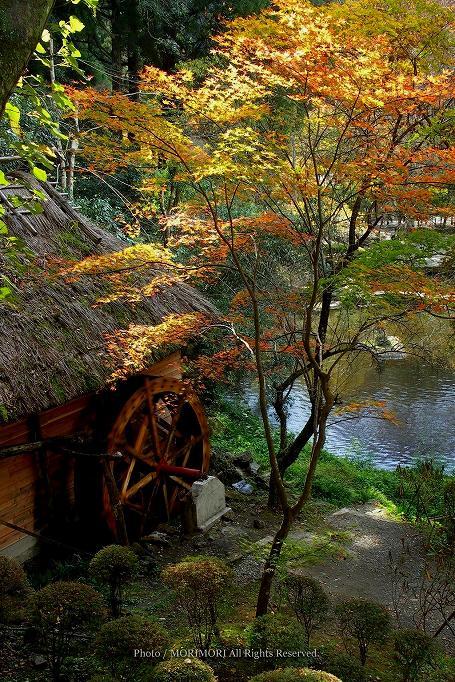 高千穂峡の水車小屋と紅葉 02